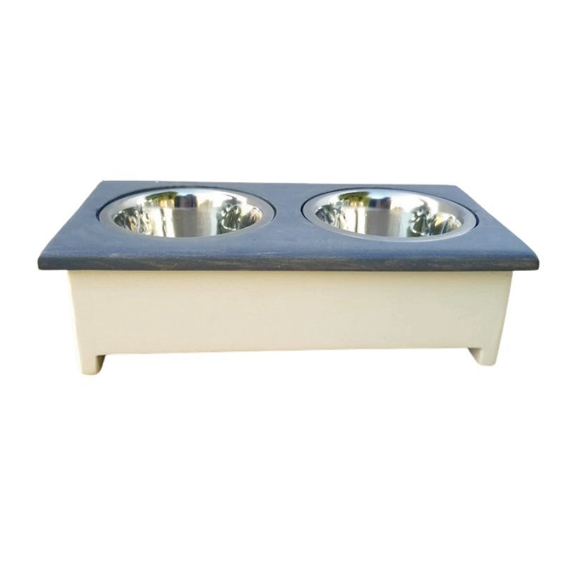 Small Dog Bowl Stand- Col White + Gray Main